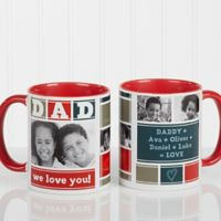 Dad Photo Collage 11 oz. Coffee Mug in Red/White