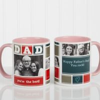 Dad Photo Collage 11 oz. Coffee Mug in Pink/White