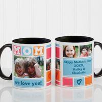 Mom Photo Collage 11 oz. Coffee Mug in Black/White