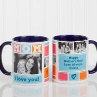 Mom Photo Collage 11 oz. Coffee Mug in Blue/White