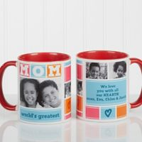 Mom Photo Collage 11 oz. Coffee Mug in Red/White
