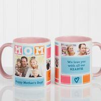Mom Photo Collage 11 oz. Coffee Mug in Pink/White