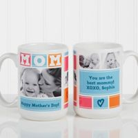 Mom Photo Collage 15 oz. Coffee Mug in White