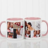 Create A Photo Collage 11 oz. Coffee Mug in Pink/White