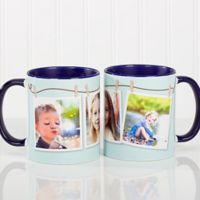 3 Photo Collage 11 oz. Coffee Mug in Blue/White