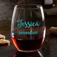 Bridal Party Personalized Stemless Wine Glass