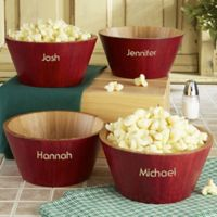 Small Red Bamboo Popcorn Bowl