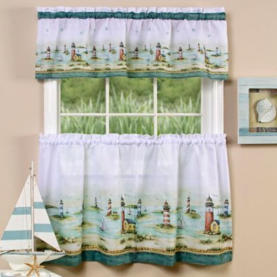 Achim Hamptons 36 Inch Kitchen Window Curtain Tier Pair And Valance In Sand
