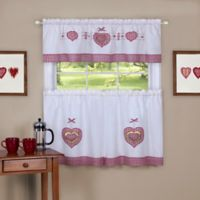 Achim Gingham Hearts 24-Inch Kitchen Window Curtain Tier Pair and Valance in Multi