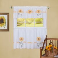 Achim Sun Blossoms Embellished 36-Inch Kitchen Window Curtain Tier Pair and Valance in Multi