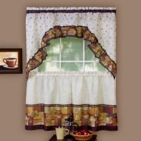 Achim Coffee 24-Inch Kitchen Window Curtain Tier Pair and Swag Valance in Brown/Linen