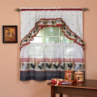 Good Achim Rooster 24 Inch Kitchen Window Curtain Tier Pair And Swag Valance In  Burgundy