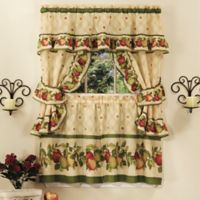 Amity Home Apple Orchard Cottage 24-Inch Kitchen Window Curtain Tier Pair in Antique