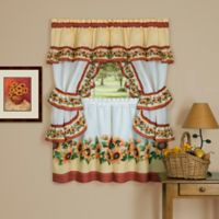 Achim Black-Eyed Susan Cottage 36-Inch Kitchen Window Curtain Tier Pair
