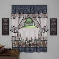 Achim Chateau Cottage 36-Inch Kitchen Window Curtain Tier Pair in Navy