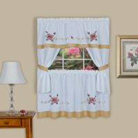 Achim Rose Cottage 24-Inch Kitchen Window Curtain Tier Pair and Swag Valance in Pink