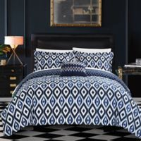 Chic Home Amare Reversible King Duvet Cover Set in Navy