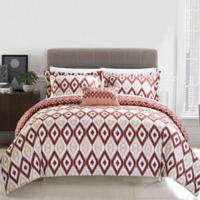 Chic Home Amare Reversible Queen Duvet Cover Set in Brick