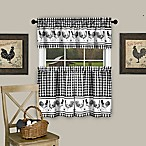 Achim Barnyard 24-Inch Kitchen Window Curtain Tier Pair and Valance in Black
