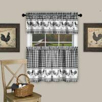 Achim Barnyard 24-Inch Kitchen Window Curtain Tier Pair and Valance in Black