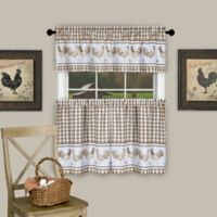 Achim Barnyard 24-Inch Kitchen Window Curtain Tier Pair and Valance in Taupe