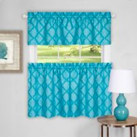 Achim Colby 24-Inch Kitchen Window Curtain Tier Pair and Valance in Turquoise
