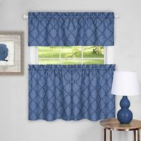 Achim Colby 36-Inch Kitchen Window Curtain Tier Pair and Valance in Blue