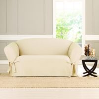 Sure Fit® Heavyweight Box Seat Loveseat Cover in Natural