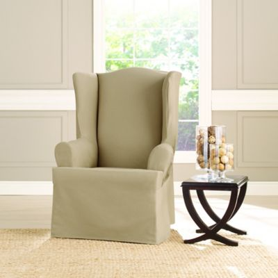 Sure FitR Heavyweight T Wing Chair Cover In Khaki