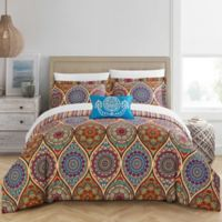 Chic Home Jory 8-Piece Queen Duvet Cover Set in Red