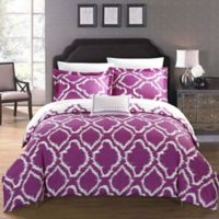 Chic Home Sasha Reversible Twin Duvet Cover Set in Lavender