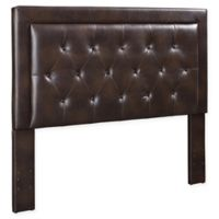 Linon Home Corie Vinyl Queen Headboard in Sable