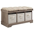 Forest Gate Wood Storage Bench in Driftwood with Totes Cushions