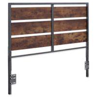 Forest Gate Holter Industrial QueeninSize Wood Metal Plank Headboard