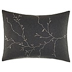 Vera Wang Home Charcoal Floral Rectangular Breakfast Throw Pillow in Dark Grey
