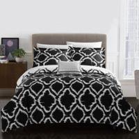 Chic Home Sasha 8-Piece Reversible King Duvet Cover Set in Black