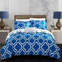Chic Home Sasha 8-Piece Reversible King Duvet Cover Set in Blue