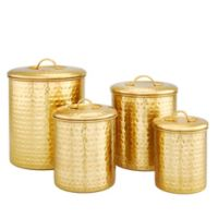 Old Dutch International 4-Piece Hammered Canister Set in Champagne
