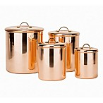 Old Dutch International 4-Piece Polished Canister Set with Brass Handles in Copper