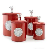 Old Dutch International Red Rooster Canister Set