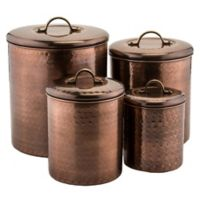 Old Dutch International 4-Piece Hammered Canister Set with Brass Knobs in Antique Copper