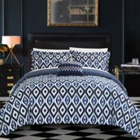Chic Home Amare Reversible 8-Piece King Duvet Cover Set in Navy