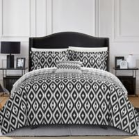 Chic Home Amare Reversible 8-Piece Queen Duvet Cover Set in Black