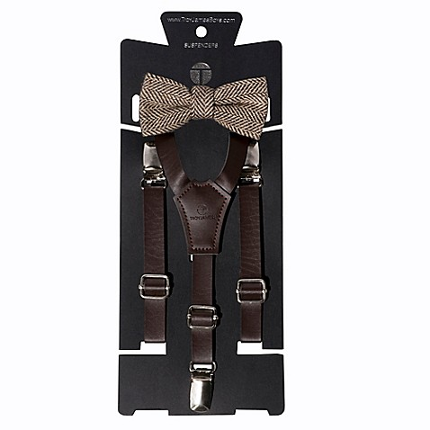 Troy James Infant/Toddler 2-Piece Wedding Suspender and Bow Tie Set in Brown