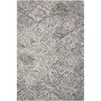 """Nourison Interlock 5' x7'6"""" Hand Tufted Area Rug in Charcoal"""