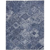"Nourison Interlock 5' x7'6"" Hand Tufted Area Rug in Denim"