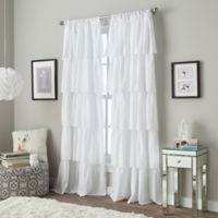 Flounced 95-Inch Rod Pocket Window Curtain Panel in White