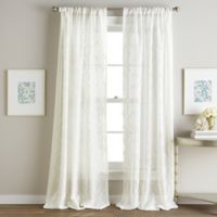 Hourglass Embroidered 84-Inch Rod Pocket Window Curtain Panel in White