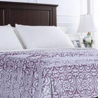 Berkshire Blanket® VelvetLoft® Floral Full/Queen Blanket in Purple