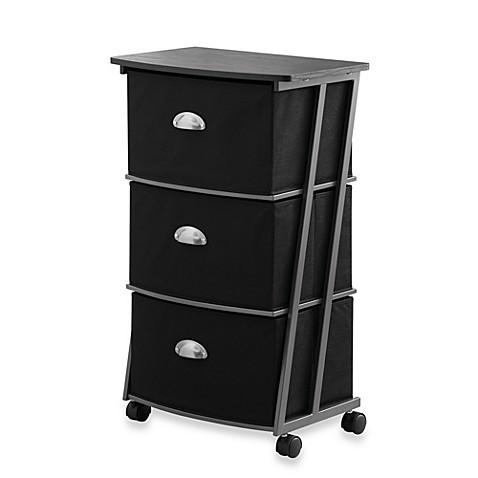 studio 3b 3 drawer storage cart in black bed bath beyond. Black Bedroom Furniture Sets. Home Design Ideas